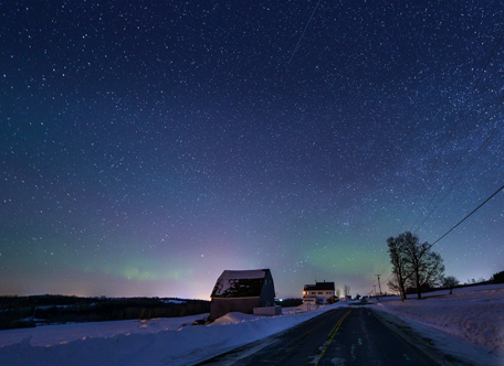 Northern Lights over the Campbell Farm, Aroostook County, Maine